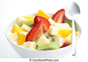 fruit salad with chunks of fruit and yogurt - delicious...