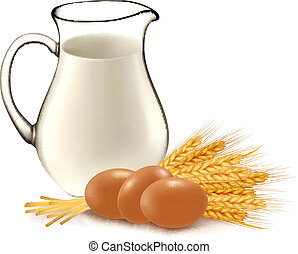 Glass jug with milk, wheat seeds.