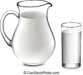 Milk jug and glass of milk. Vector