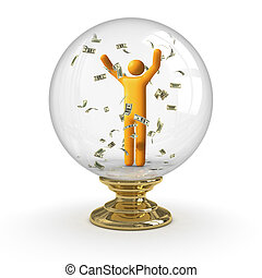 Crystal ball - Dollar rain clipping path included