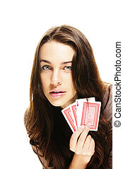 gorgeous woman holding poker cards on white background