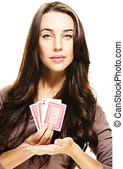 gorgeous woman presenting poker cards on white background
