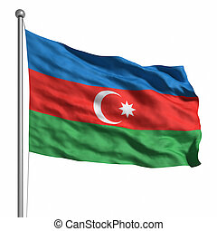 Flag of Azerbaijan Rendered with fabric texture visible at...