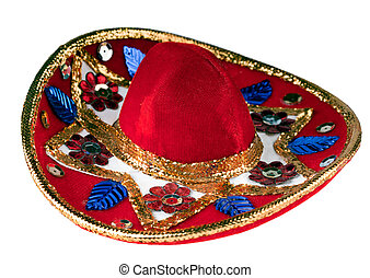 Colorful sombrero - Colorful mexican sombrero isolated on...