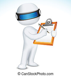 3d Man writing on Notepad - illustration of 3d man writing...
