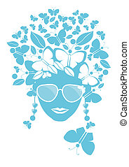 Butterflies and leaves in her hair - Illustration of young...