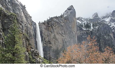 Yosemite Waterfall with snow on mountain