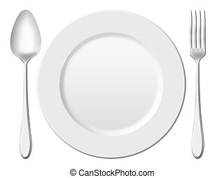 Dinner place setting A white china plate with silver fork...