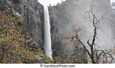 Yosemite Waterfall - Waterfall at Yosemite National Park in...