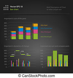 infographics, bar chart - variants with different components...