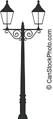 street lamp light vector outline