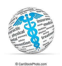 Caduceus Sphere - Spehere with Caduceus signs on white...