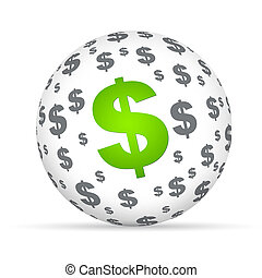 Dollar Sign Sphere - Spehere with dollar signs on white...