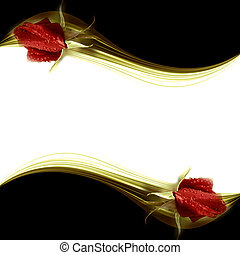 elegant romantic card red rosebuds