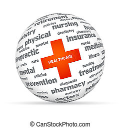 Healthcare Sphere - Spehere with healthcare sign on white...