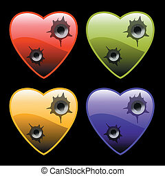 hearts with bullet holes on black