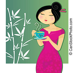 green tea - pretty girl drinking a cup of green tea