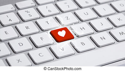 keyboard with heart sign - White keyboard with heart sign