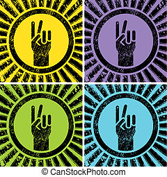 victory sign - colorful grunge victory signs on rising sun...