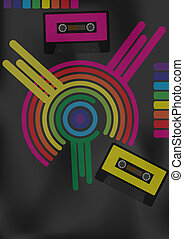 Retro Party Background - Retro Audio Tapes and Multicolor...