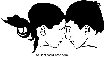 boy and girl face to face looking at each other - sketch of...