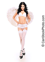 angel - Portrait of a sexual young woman angel. Isolated...