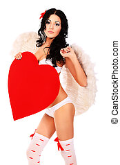 model - Sexual young woman angel posing with red heart...