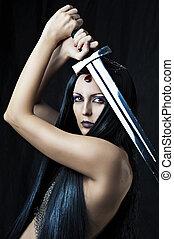 jovem, excitado, mulher, guerreira, espada