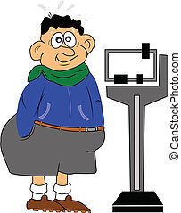 obesity - overweight male nervously waiting to step on scale