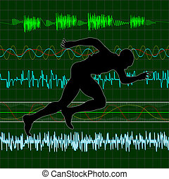 Cardio - Working out, running exercise with cardiac curves...