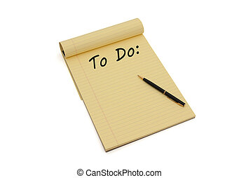 Making your To Do List - Blank yellow lined notepad with...