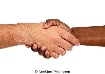 Handshake between races a over white background