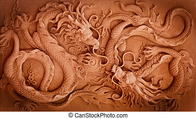 Chinese Style Double Dragon Abstract with Low Relief...