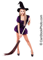 witch with a broom - pretty young blond witch with a broom,...