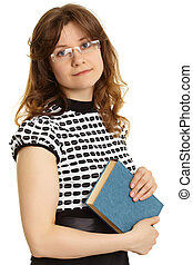 Young woman - teacher with a book - Portrait of a young...