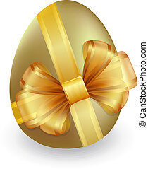 Easter egg with ribbon and bow - Gold easter egg tied with...