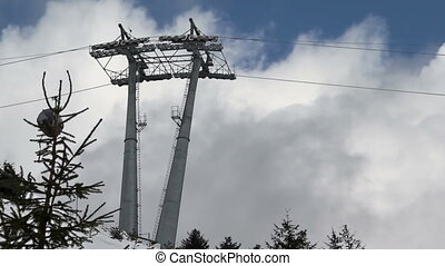 Cableway - Highest ski lift in the background of clouds