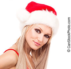 woman dressed as Santa - beautiful young blond woman dressed...