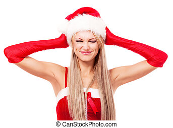 woman dressed as Santa - displeased woman dressed as Santa,...