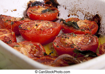 Baked tomatoes. - Freshly baked tomatoes with garlic and...