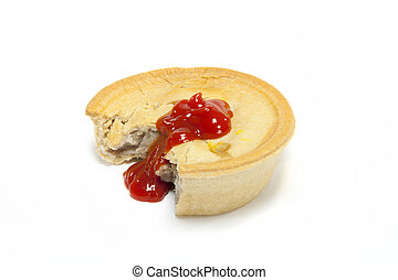 Meat pie. - Meat pie with tomato sauce on a white...