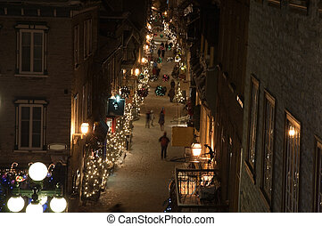 Quebec Old city - Street of Quebec Old city in winter time