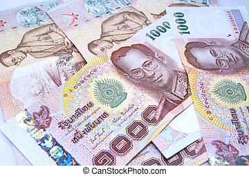 close up of 1000 baht banknotes, thailand money