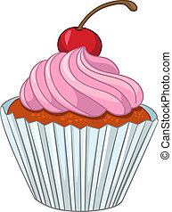 Cartoons Cupcake - Cartoon Food Sweet Cupcake Isolated on...
