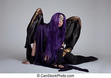menina, sentar, roxo, fúria, cosplay, traje, personagem