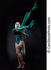 loura, menina, verde, fúria, cosplay, personagem