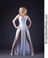 Sexy woman wear white fashion cloth