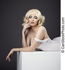 sensuality potrait of pretty woman in white cloth
