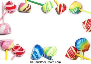 Candies - Brightly colored candies on a white background