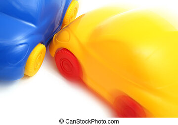 Crash of two toy cars (zoom effect) - Crash of two toy cars...